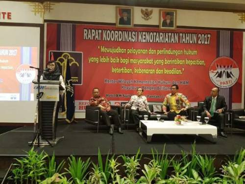 Ketua Umum ibu Yualita Widyadhari menghadiri Rapat Kordinasi Kenotariatan Kanwil KUMHAM Kepulauan Bangka Belitung , tanggal 7-9 April 2017