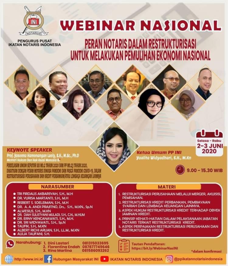 Webinar Pengurus Pusat INI - Peran Notaris Dalam Restrukturisasi Untuk Melakukan Pemulihan Ekonomi Nasional
