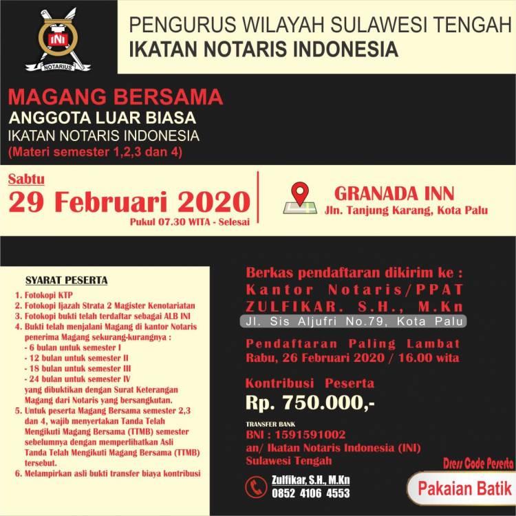 MAGANG BERSAMA PENGURUS WILAYAH SULAWESI TENGAH PERIODE FEBRUARI 2020