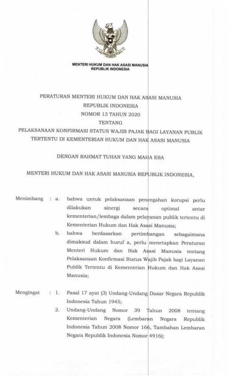 Peraturan Menteri Hukum dan Hak Asasi Manusia Nomor 13 Tahun 2020