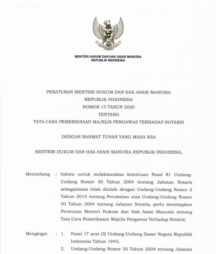 Peraturan Menteri Hukum dan Hak Asasi Manusia Nomor 15 Tahun 2020 Tentang Tata Cara Pemeriksaan Majelis Pengawas Terhadap Notaris