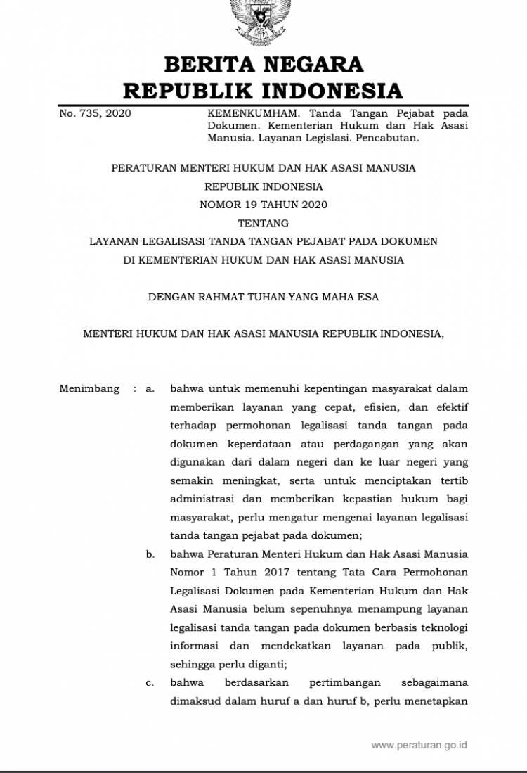 Peraturan Menteri Hukum dan Hak Asasi Manusia Nomor 19 Tahun 2020 Tentang Layanan Legalisasi Tanda Tangan Pejabat Pada Dokumen Di Kementerian Hukum Dan Hak Asasi Manusia