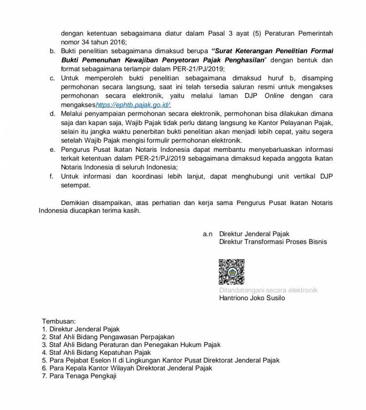 Pemberitahuan Penerbitan Peraturan Direktur Jenderal Pajak nomor PER21/PJ/2019 dan Implementasi Aplikasi e-PHTB