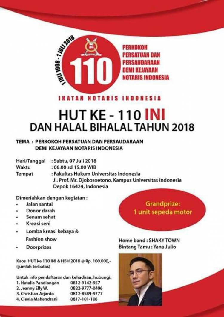HUT KE - 110 INI DAN HALAL BI HALAL TAHUN 2018