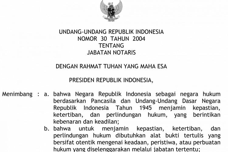 UU No 30 Thn 2004 Tentang Jabatan Notaris