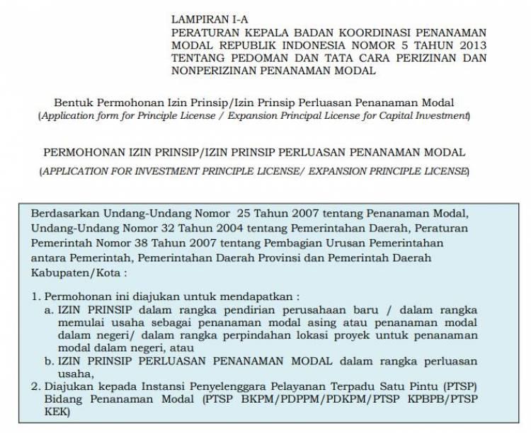 Lampiran Perka No.5 thn 2013 Tentang Pedoman Dan Tata Cara Perizinan Dan Nonperizinan Penanaman Modal