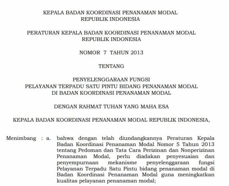 Peraturan Kepala BKPM No_ 7 Tahun 2013