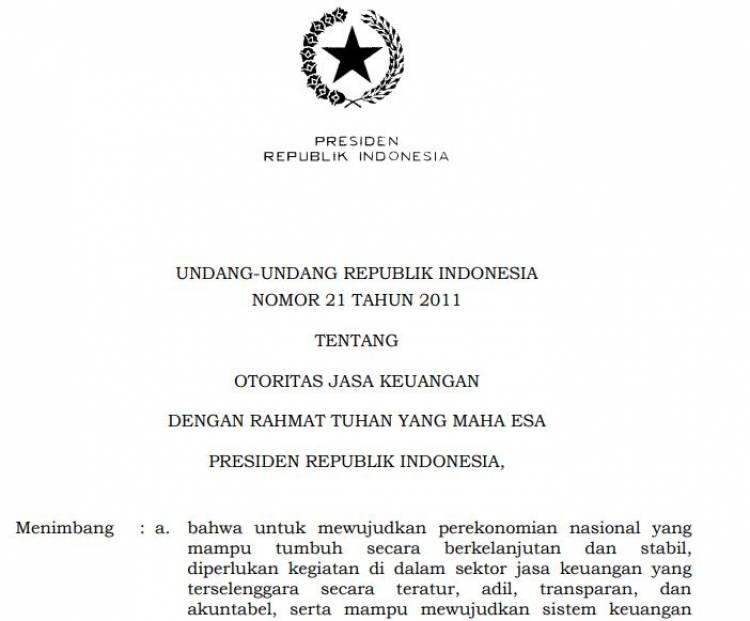 UU. No. 21 Tahun 2011 Tentang OJK