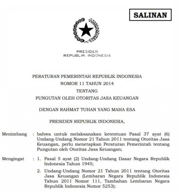 Peraturan Pemerintah No. 11 Tahun 2014 Tentang Pungutan Oleh Otoritas Jasa Keuangan