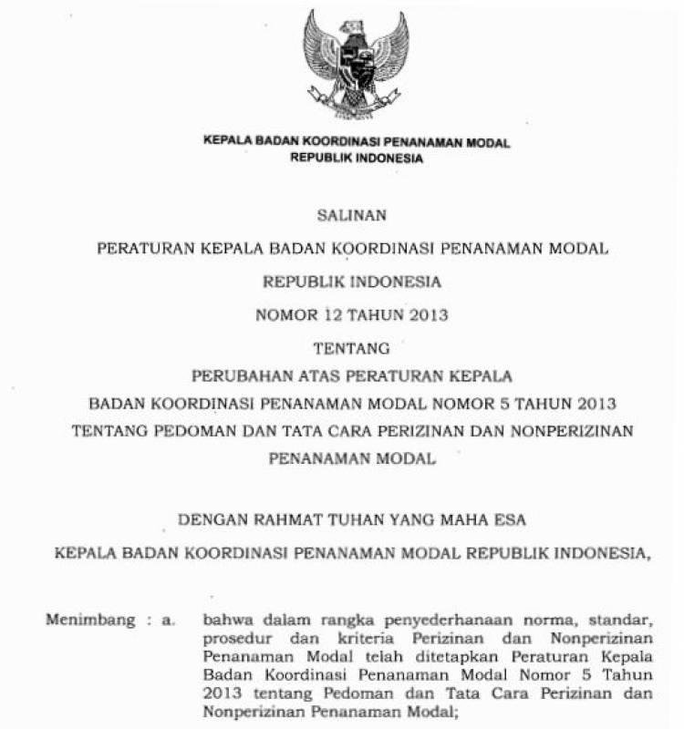 Perka 12 Tahun 2013 tentang perubahan Perka 5 thn 2013