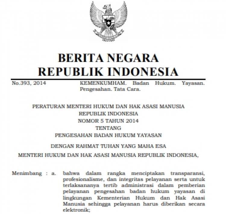 Permenkumham No 5 tahun 2014 Tentang Pengesahan Badan Hukum Yayasan