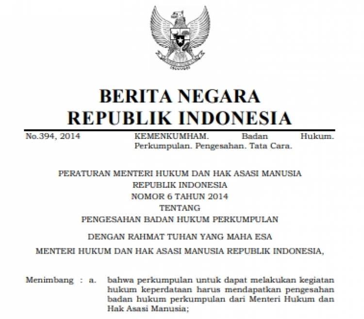 Permenkumham No 6 Tahun 2014 Tentang Pengesahan Badan Hukum Perkumpulan