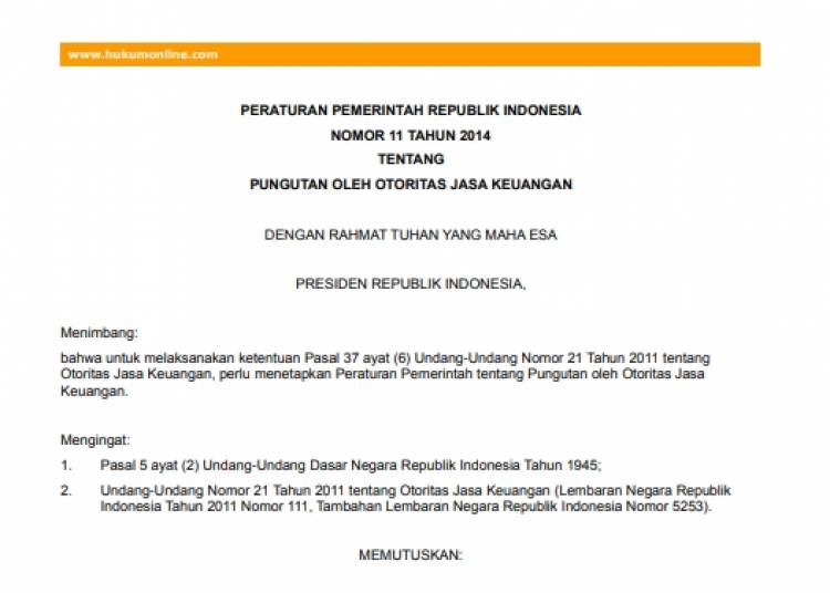 Peraturan Pemerintah NO. 11 Tahun 2014 Tentang Pungutan Oleh OJK