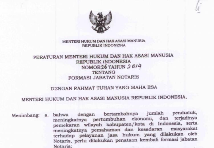 Permenkumham no 26 tahun 2014 Tentang Formasi Jabatan Notaris