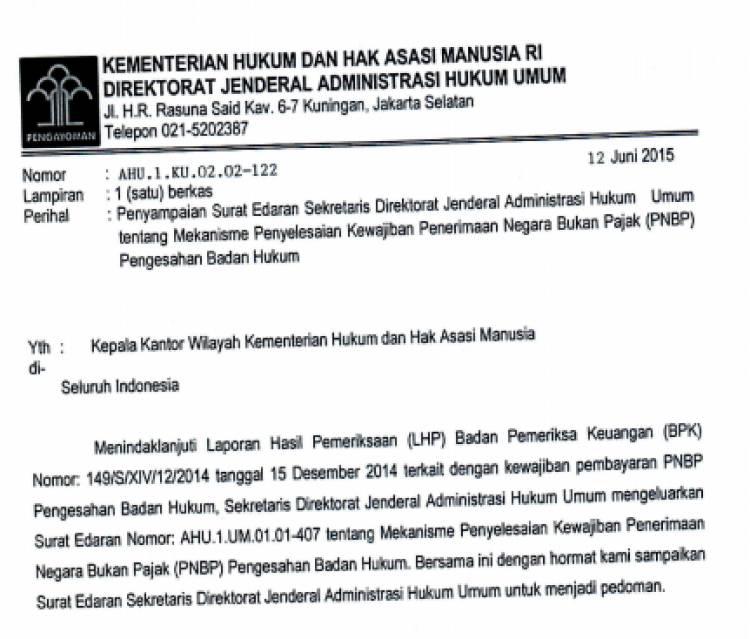 Surat Edaran Sekretaris Dirjen AHU Tentang Mekanisme PNBP Pengesahan Badan Hukum