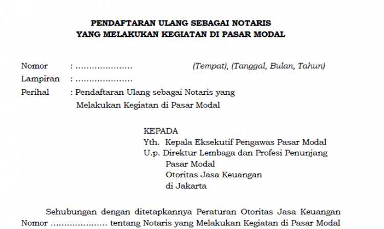 Formulir Daftar Ulang Notaris di Pasar Modal