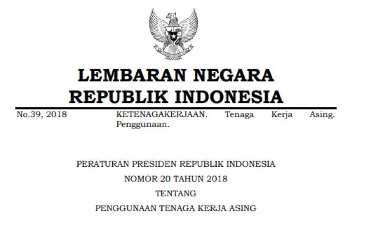 PERATURAN PRESIDEN REPUBLIK INDONESIA NOMOR 20 TAHUN 2018 TENTANG PENGGUNAAN TENAGA KERJA ASING