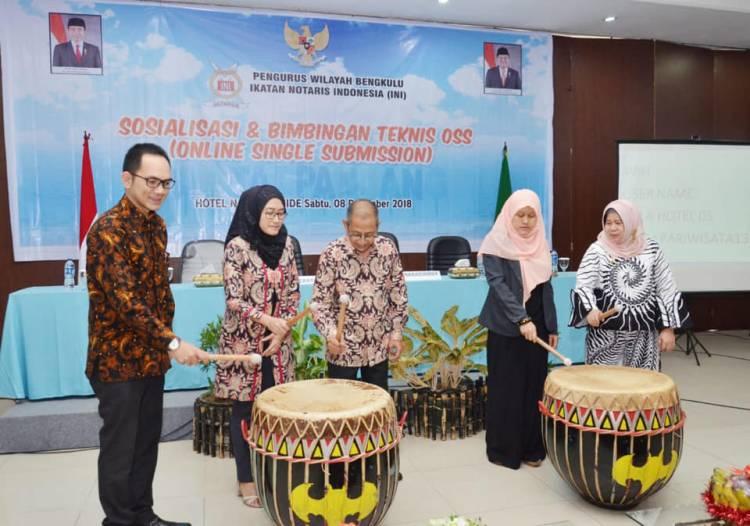 Sosialisasi dan Bimbingan Teknis OSS (Online Single Submission) Pengwil Bengkulu Ikatan Notaris Indonesia
