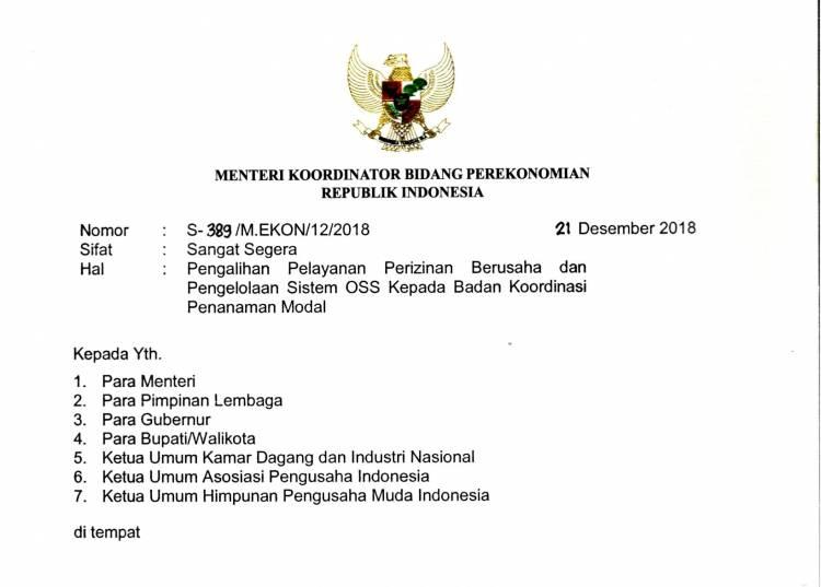 Surat Menteri Koordinator Perekonomian Republik Indonesia